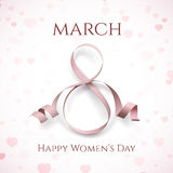 March 8 greeting card template on pink, blurry background. March 8 greeting card template on pink, blurry background with hearts. International Womens day Royalty Free Stock Photography
