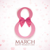 March 8 greeting card template. March 8 greeting card template pink bow and blurry hearts. International Women`s day background or brochure. Vector illustration Stock Photos