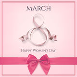 March 8 greeting card template with pink bow. Stock Photos