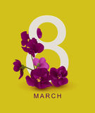 March 8 greeting card template. Violet flower on yellow background Royalty Free Stock Photos