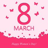 8 march greeting card. Template for Women`s Day holiday banner with heart and butterfly in pink color. Vector. 8 march greeting card. Template for Women`s Day stock illustration