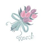 8 March greeting card. Women`s Day design template with flower bouquet. Stock Photo