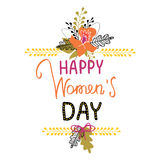 8 march greeting card. 8 march women`s day greeting card with flowers and lettering Royalty Free Stock Photography