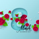 8 March greeting card for Womens Day. royalty free illustration