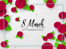 8 March greeting card for Womens Day. 8 March greeting card for International Womens Day. Paper cut roses with leaves and frame on white spotted background stock illustration