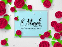 March 8 greeting card for Womens Day. March 8 greeting card for International Womens Day. Paper cut roses with leaves on white spotted background. Vector royalty free illustration