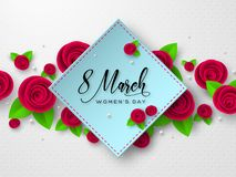 8 March greeting card for Womens Day. 8 March greeting card for International Womens Day. Paper cut roses with leaves on white spotted background. Vector vector illustration