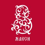 March 8 greetings card with ornate elements Stock Photo
