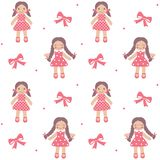 Vintage rag dolls seamless pattern Royalty Free Stock Images