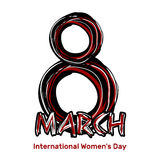 March 8. Hand drawn scribble lettering. International Womens Day Stock Images