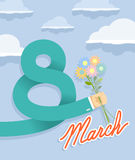 8 march. hand holding bouquet of flowers. Businessman hand holding bouquet of flowers Royalty Free Illustration