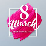 8 march happy international woman day on lipstick mark vector pi Royalty Free Stock Photography