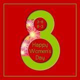 8 March Happy Women`s Day Colorful Floral Greeting card. 8 March Happy International Women`s Day Colorful Floral Red Greeting card stock illustration