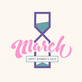 8 march happy international womens day lettering creative holida. Y label for sale promotion with hourglass silhouette. Girly limited sale vector icon/badge vector illustration