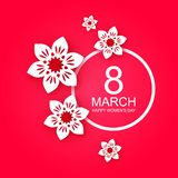 8 March, Happy Mother`s Day card. White paper cut flowers on pink background. Vector illustration. 8 March, Happy Mother`s Day card. White paper cut flowers on vector illustration