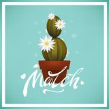 8 March. Happy Mother s Day. Flowering cactus in a flower pot. Floral greeting cards. Holiday background. Happy woman s day. Trend. Y design template. Vector Royalty Free Stock Photos