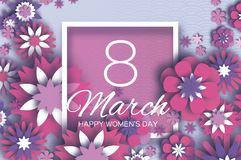 8 March. Happy Mother`s Day. Pink white Paper cut Floral Greeting card. Origami flower .Square Frame, space for text. Happy Women`s Day. Text. Spring blossom Royalty Free Stock Photography