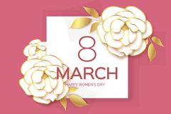 8 March. Happy Mother s Day. Pink White Paper cut Peony Floral Greeting card. Origami flower.Happy Women s Day. Text. Spring blossom.Seasonal holiday on pink Royalty Free Stock Images