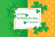 17 MARCH Happy St Patricks Day .  Card design with paper art gre. En shamrock ,green-Orange  background .Vector Stock Image
