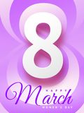 8 March Happy Woman`s Day beautiful greeting card. Vector illustration of beautiful greeting card on March 8 Happy Woman`s Day in violet color stock illustration