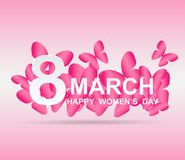 8 march. Happy Woman`s Day. Card design. With paper art pink butterflies, pink background .Vector Stock Illustration