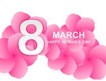 8 march. Happy Woman`s Day. Card design. With paper art and pink flowers, pink-white background .Vector royalty free illustration