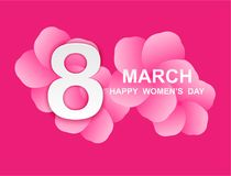 8 march. Happy Woman`s Day. Card design. With paper art and pink flowers, pink-white background .Vector Stock Illustration