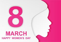 8 march. Happy Woman& x27;s Day. Card design with paper art head wome. N outline, pink background .Vector royalty free illustration