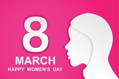 8 march. Happy Woman& x27;s Day. Card design with paper art head women outline, pink background .Vector vector illustration