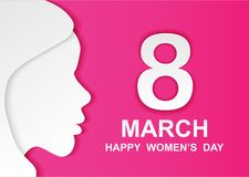 8 march. Happy Woman& x27;s Day. Card design with paper art head women outline, pink background .Vector Stock Images