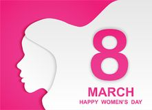 8 march. Happy Woman& x27;s Day. Card design with paper art head women outline, pink background .Vector Stock Image