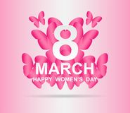 8 march. Happy Woman`s Day. Card design. With paper art pink butterflies, pink background .Vector Royalty Free Stock Photography