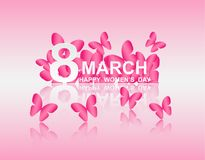 8 march. Happy Woman`s Day. Card design. With paper art pink butterflies, pink background .Vector Royalty Free Stock Image