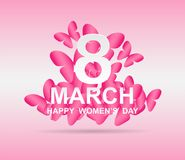 8 march. Happy Woman`s Day. Card design. With paper art pink butterflies, pink background .Vector royalty free illustration