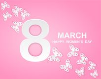 8 march. Happy Woman`s Day. Card design. With paper art pink butterflies, pink background .Vector vector illustration