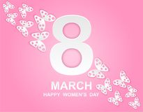 8 march. Happy Woman`s Day. Card design. With paper art pink butterflies, pink background .Vector Stock Photos