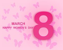 8 march. Happy Woman`s Day. Card design. With paper art pink butterflies, pink background .Vector Stock Image