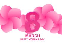 8 march. Happy Woman`s Day. Card design  with paper art and pink flowers, pink-white background .Vector Stock Photos