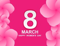 8 march. Happy Woman`s Day. Card design  with paper art and pink flowers, pink-white background .Vector Royalty Free Stock Image