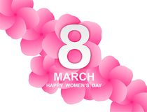 8 march. Happy Woman`s Day. Card design  with paper art and pink flowers, pink-white background .Vector Stock Photography