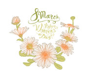 8 march. Happy Woman`s Day! Chamomile flowers. 8 march. Happy Woman`s Day! Vector congratulation card with chamomile flowers Stock Images