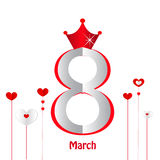 8 March, Happy Woman's Day greeting card with hearts vector. Background Royalty Free Stock Image