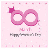8 March, Happy Woman's Day greeting card with hearts vector. Background stock illustration