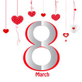 8 March, Happy Woman's Day greeting card with hearts vector. Background Royalty Free Stock Images