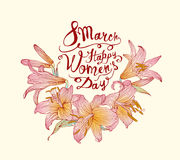 8 march. Happy Woman`s Day! Lily flowers. 8 march. Happy Woman`s Day! Vector congratulation card with lily flowers Stock Photo
