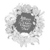 8 march. Happy Woman`s Day! Linear floral wreath. 8 march. Happy Woman`s Day! Vector congratulation card with linear floral wreath Royalty Free Stock Image