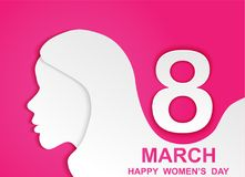 8 march. Happy Woman& x27;s Day. Card design with paper art head women outline, pink background .Vector Stock Photo