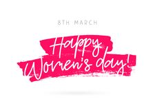 March 8. Happy woman`s day. Vector illustration on a white background with a stroke of ink pink color. Lettering and calligraphy. A great festive greeting card Stock Photos