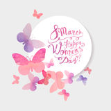 8 march. Happy Woman`s Day! Pink watercolor butterflies. 8 march. Happy Woman`s Day! Vector congratulation card with pink watercolor butterflies Royalty Free Stock Photography