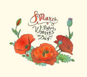 8 march. Happy Woman`s Day! Poppy flowers. 8 march. Happy Woman`s Day! Vector congratulation card with poppy flowers Stock Photography